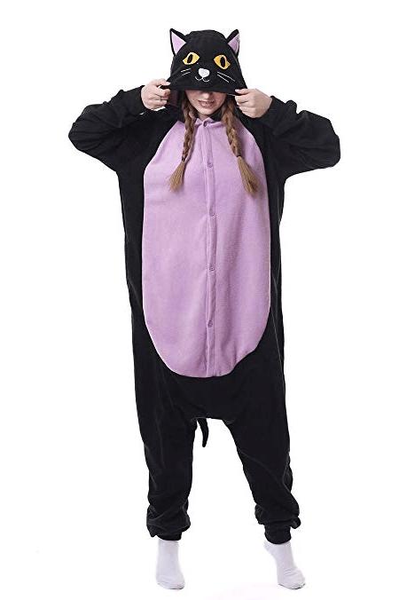 Pijama gato negro y morado