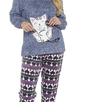 Pijama con diseño de gato para mujer