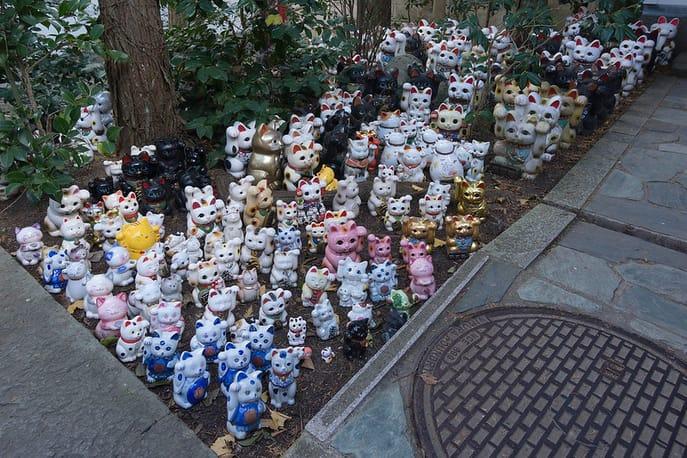 templo japon gato de la suerte