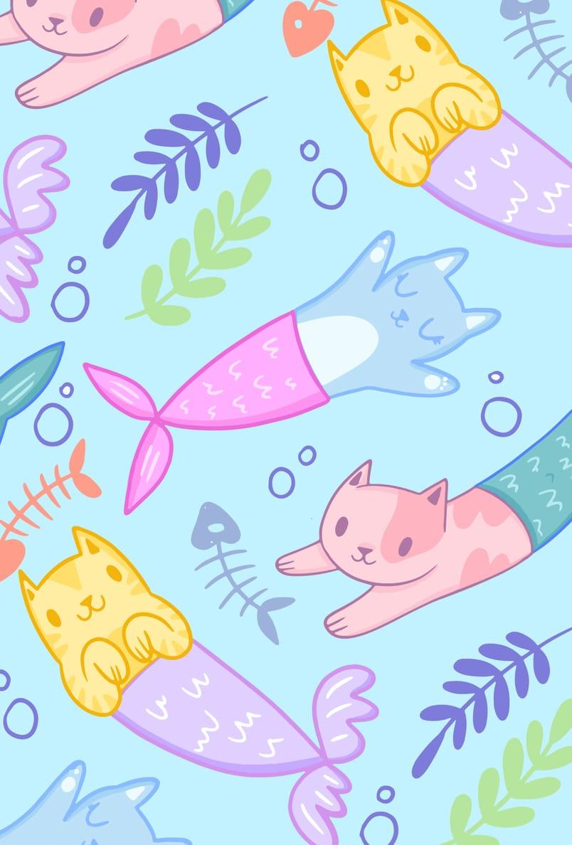 fondo ilustracion gatos